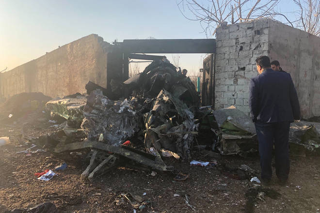 Wreckage from the plane crash in Iran