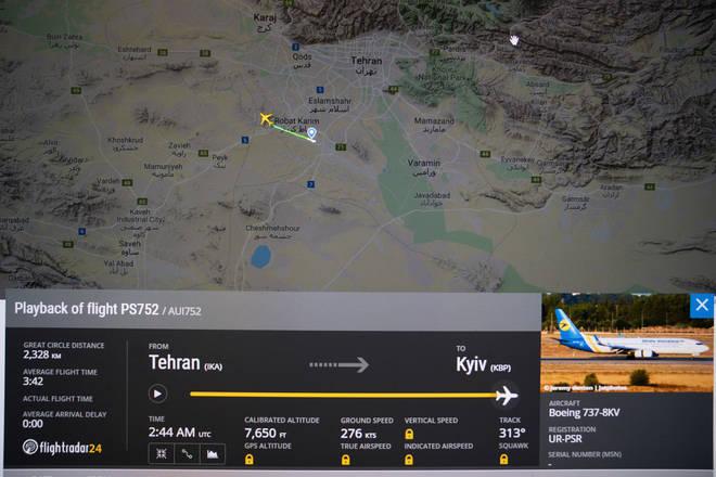 Details of the flight from Flightradar24