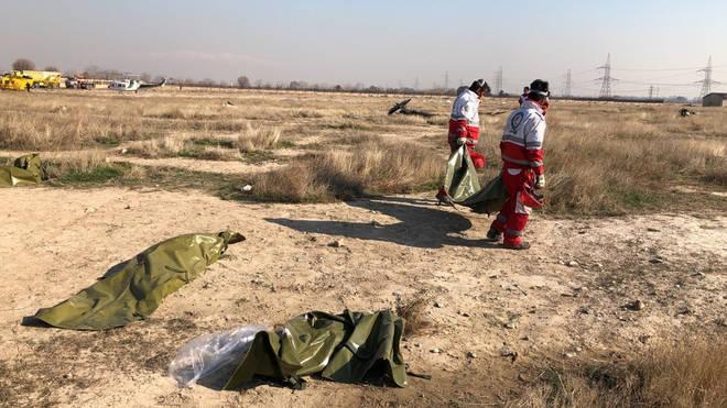 The air crash site just outside Tehran