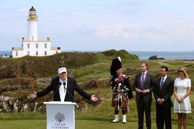 Donald Trump on a previous visit to Turnberry in 2016