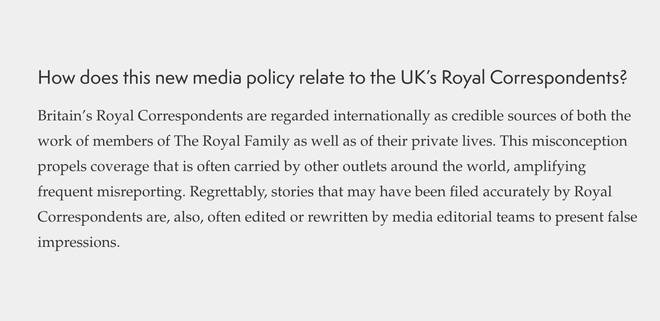 An update on the royal couple's official website