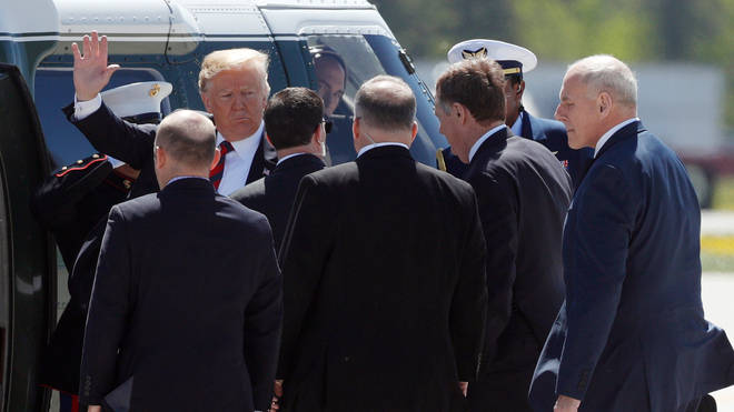 Donald Trump with his staff