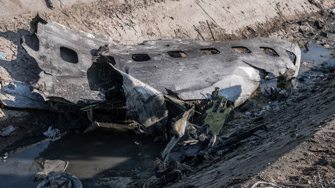 A section of the downed aircraft