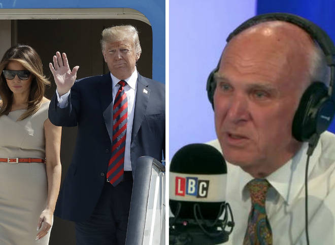 Vince Cable slammed the US President who has touched down in Britain for a four-day visit