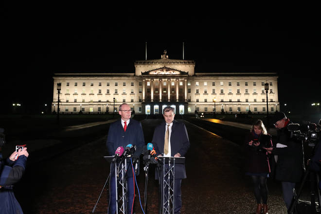 A statement was issued outside the Stormont Parliament buildings in Belfast