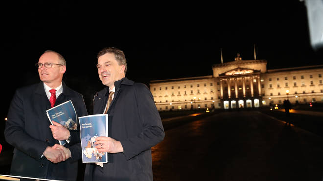 Irish Foreign Affairs minister Simon Coveney (left) and Secretary of State for Northern Ireland Julian Smith pictured after reaching a deal