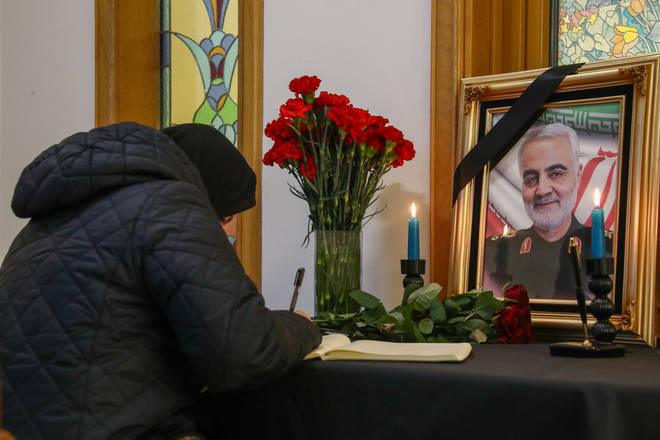 Condolence book for General Qasem Soleimani.