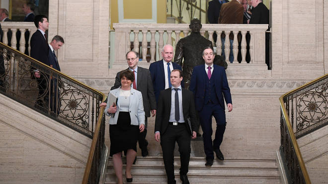 Arlene Foster of the DUP leads her party into the chamber at Stormont