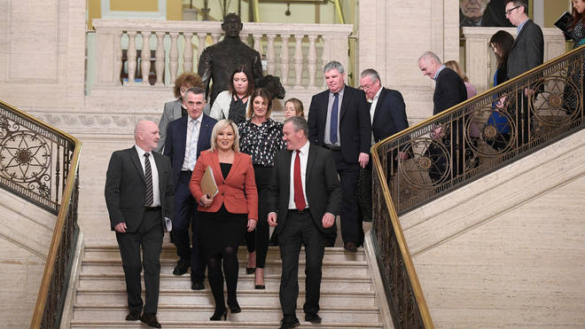 Michelle O'Neill of Sinn Fein leads her party into the chamber at Stormont