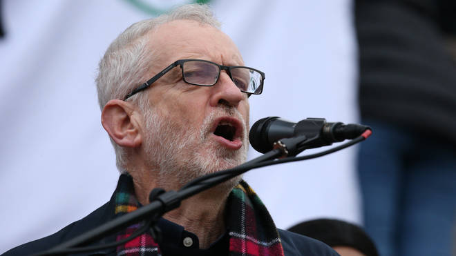 "Jeremy Corbyn speaking at the ""no war with Iran"" protest in London"