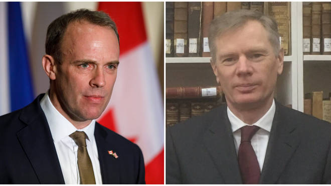 Mr Raab (L) condemned the arrest of Mr Macaire (R)