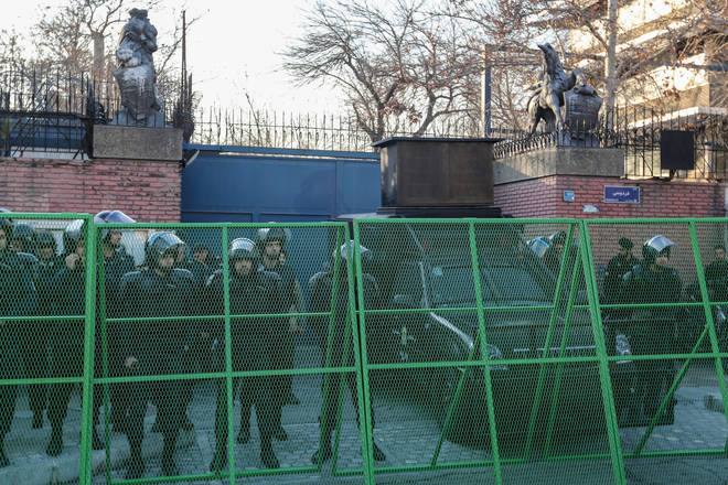 Barricades and guards were seen outside the embassy