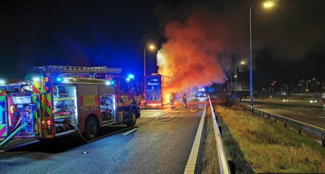 The lorry caught fire