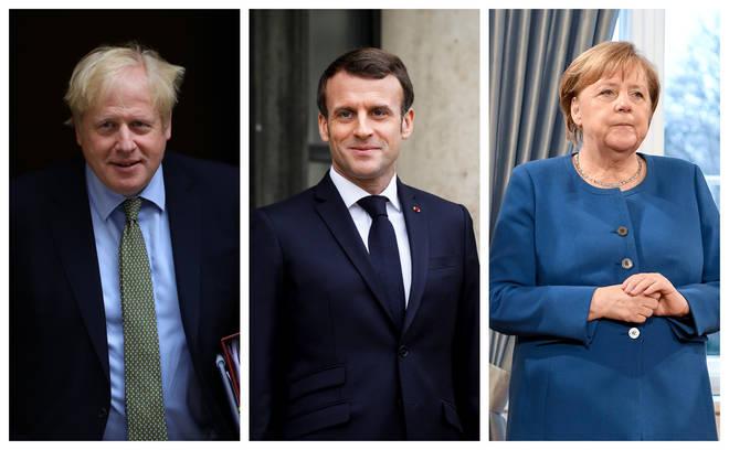 Boris Johnson, Emmanuel Macron and Angela Merkel