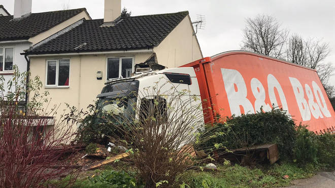 The lorry hit the house just days before Christmas
