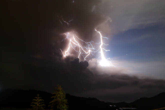 Lightning flashes as the Taal volcano erupts in Tagaytay, the Philippines