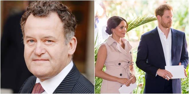 Paul Burrell, Princess Diana's former butler (left) and Harry and Meghan (right).