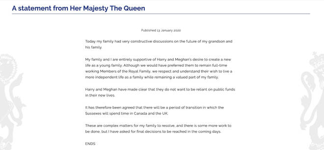The full statement from the Queen
