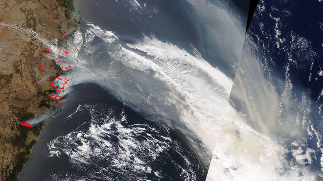 NASA has pictured the smoke from space