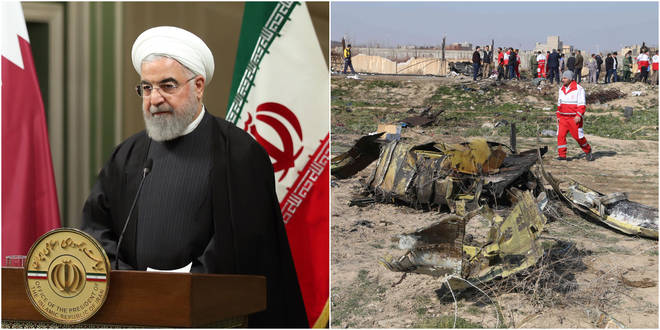 Hassan Rouhani President of Iran (left) and site of the Ukrainian air crash.