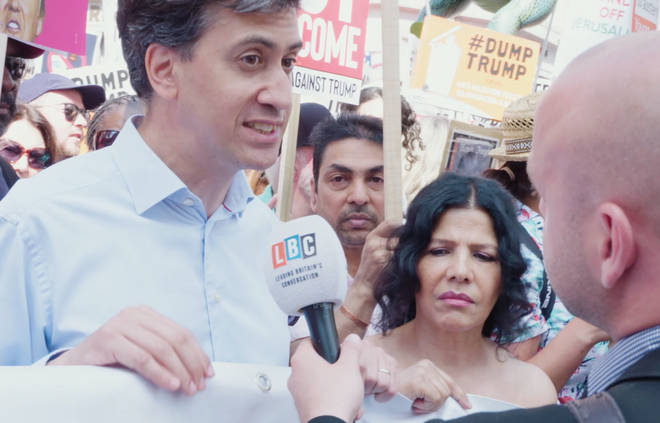 Ed Miliband joined thousands of anti-Trump protesters in London
