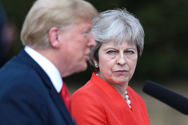 Theresa May and Donald Trump give a joint press conference during his UK visit.