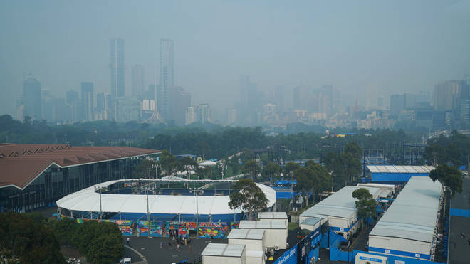 A smoky haze hangs over Melbourne, Australia