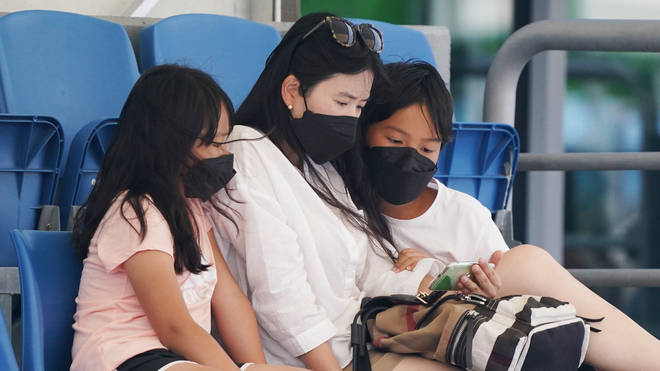 Spectators wore masks as protection against the poor air quality