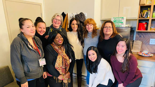 Meghan was pictured in Canada