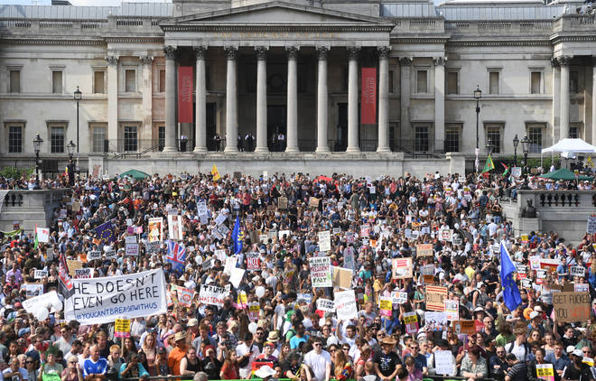 Protesters in Trafalgar Square