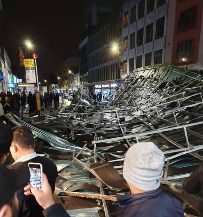 The roof narrowly missed shoppers in Slough