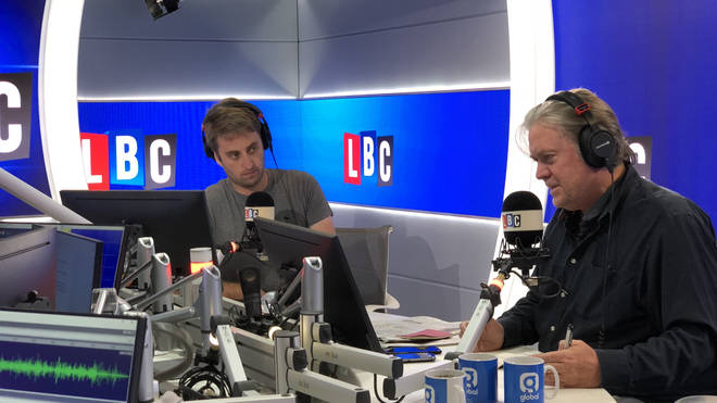 Theo Usherwood and Steve Bannon in the LBC studio