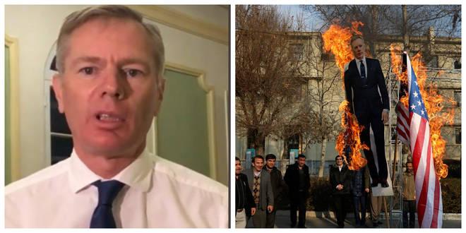 An effigy was burnt of the ambassador