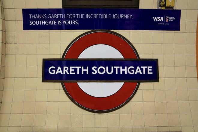 Gareth Southgate London Underground station