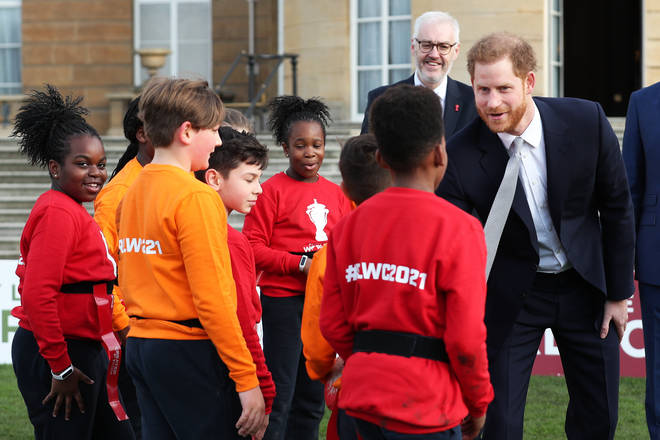 Prince Harry met with children from a local school