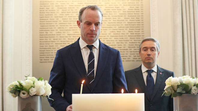 The foreign secretary attended the memorial ceremony at the High Commission of Canada