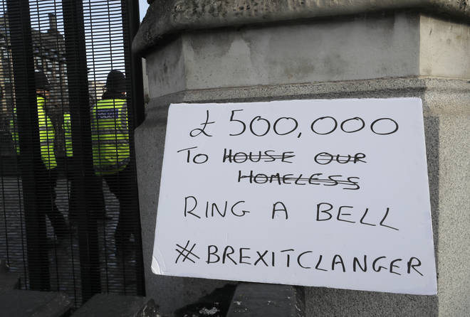 Anti Brexit campaign sign protesting the reported cost of Big Ben bonging for Brexit