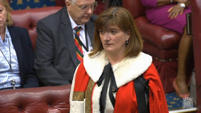 The baroness was sworn into the House of Lords on Monday