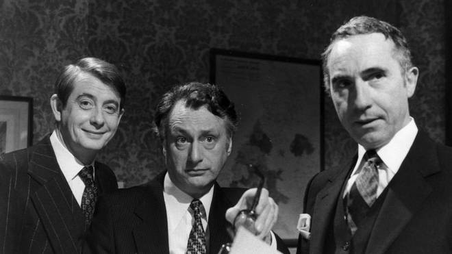 (left to right) Derek Fowlds, Sir Nigel Hawthorne and Paul Eddington in Yes, Minister
