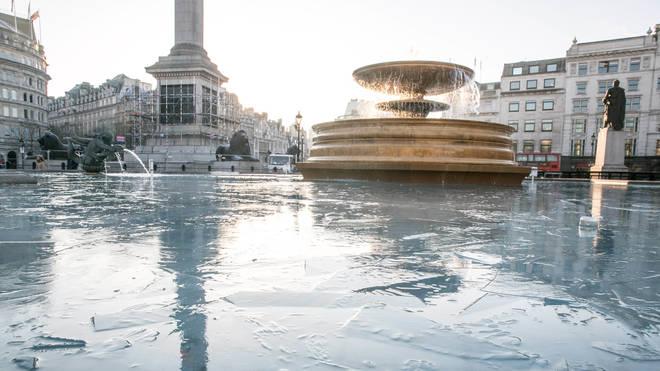 Fountains frozen in Trafalgar Square