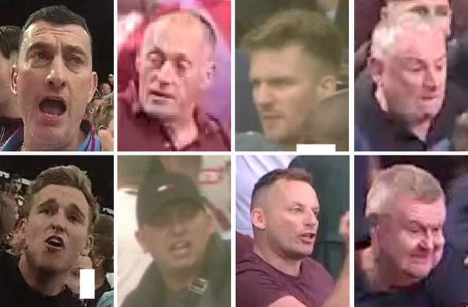 Police want to trace these eight men after violence at the game