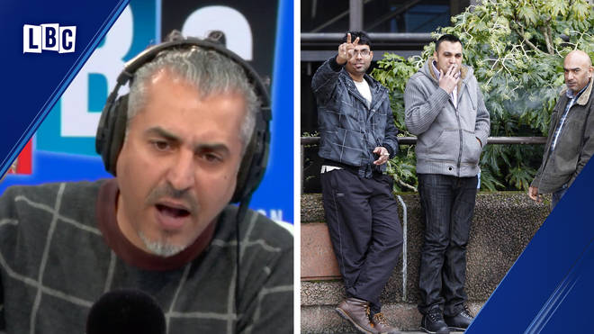 "Maajid Nawaz accuses caller of being in ""denial"" about Asian grooming gangs; three men accused of being involved in the Rochdale scandal"