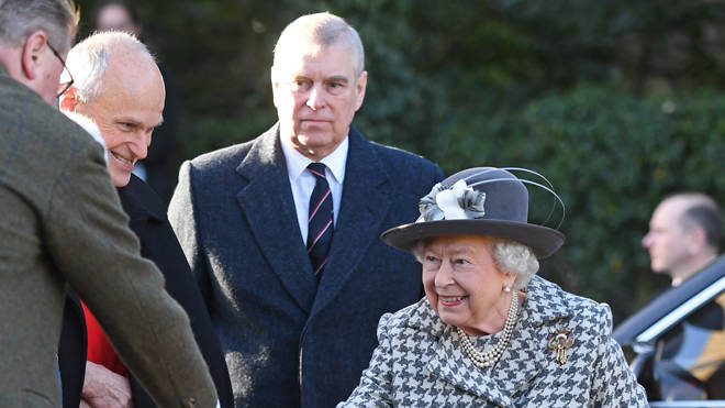 Prince Andrew and the Queen at church in Sandringham today