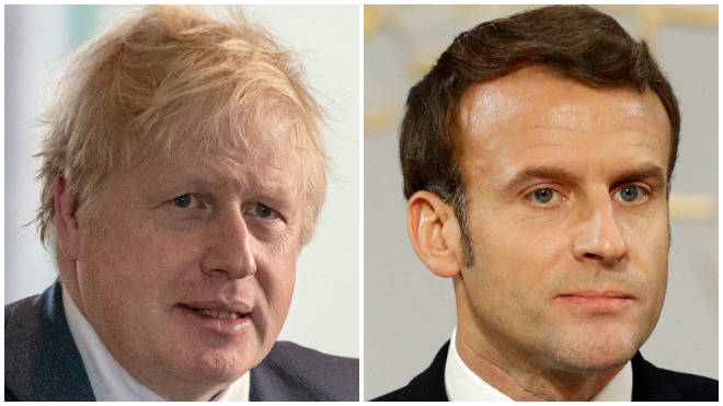 The British and French leaders met during talks about Libya in Berlin