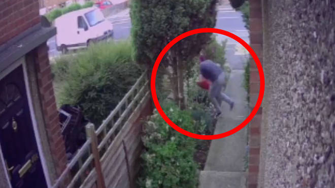 The robber's spectacular fail was caught on CCTV