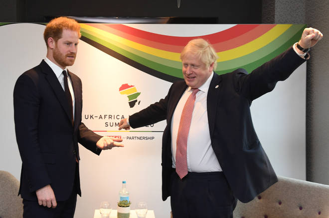 Prince Harry pictured with UK Prime Minister Boris Johnson