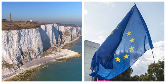 The pro-EU banner will be flown over the White Cliffs of Dover