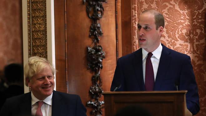 The Duke of Cambridge made a speech while Boris Johnson looked on