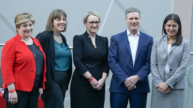 With Ms Phillips (second left) dropping out, it leaves Emily Thornberry (L), Rebecca Long-Bailey (M), Sir Kier Starmer (second right) and Lisa Nandy (R) vying for the top job