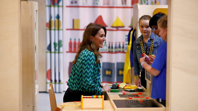 The Duchess of Cambridge meets children at the survey's launch in Birmingham